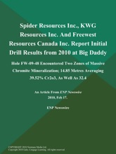 Spider Resources Inc., KWG Resources Inc. And Freewest Resources Canada Inc. Report Initial Drill Results from 2010 at Big Daddy; Hole FW-09-48 Encountered Two Zones of Massive Chromite Mineralization; 14.85 Metres Averaging 39.52% Cr2o3, As Well As 32.4
