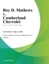 Roy D Mathews V Cumberland Chevrolet