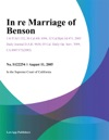 In Re Marriage Of Benson