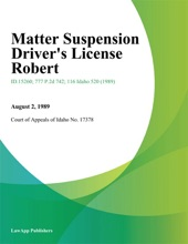 Matter Suspension Driver's License Robert