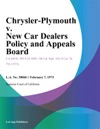 Chrysler-Plymouth V New Car Dealers Policy And Appeals Board