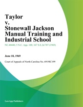 Taylor V. Stonewall Jackson Manual Training And Industrial School
