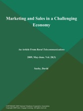 Marketing And Sales In A Challenging Economy
