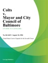 Colts V Mayor And City Council Of Baltimore