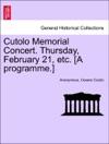 Cutolo Memorial Concert Thursday February 21 Etc A Programme