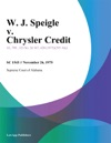 W J Speigle V Chrysler Credit