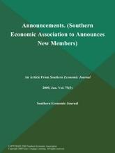 Announcements (Southern Economic Association To Announces New Members)