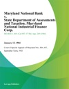 Maryland National Bank V State Department Of Assessments And Taxation Maryland National Industrial Finance Corp