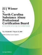 Wiener V. North Carolina Substance Abuse Professional Certification Board