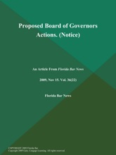 Proposed Board Of Governors Actions (Notice)