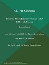 Un-Iran Sanctions: Resolution Throws Lebanon's