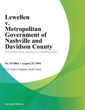 Lewellen V. Metropolitan Government Of Nashville And Davidson County