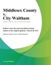 Middlesex County V City Waltham