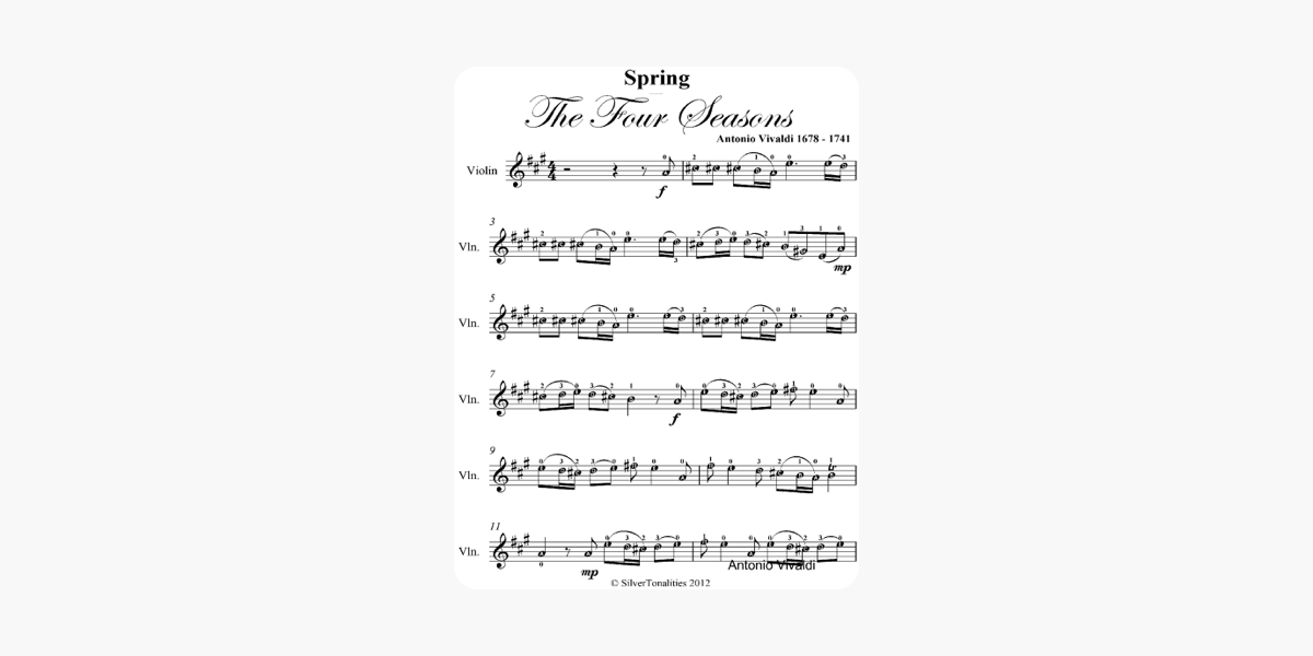 Spring Four Seasons Easy Violin Sheet Music