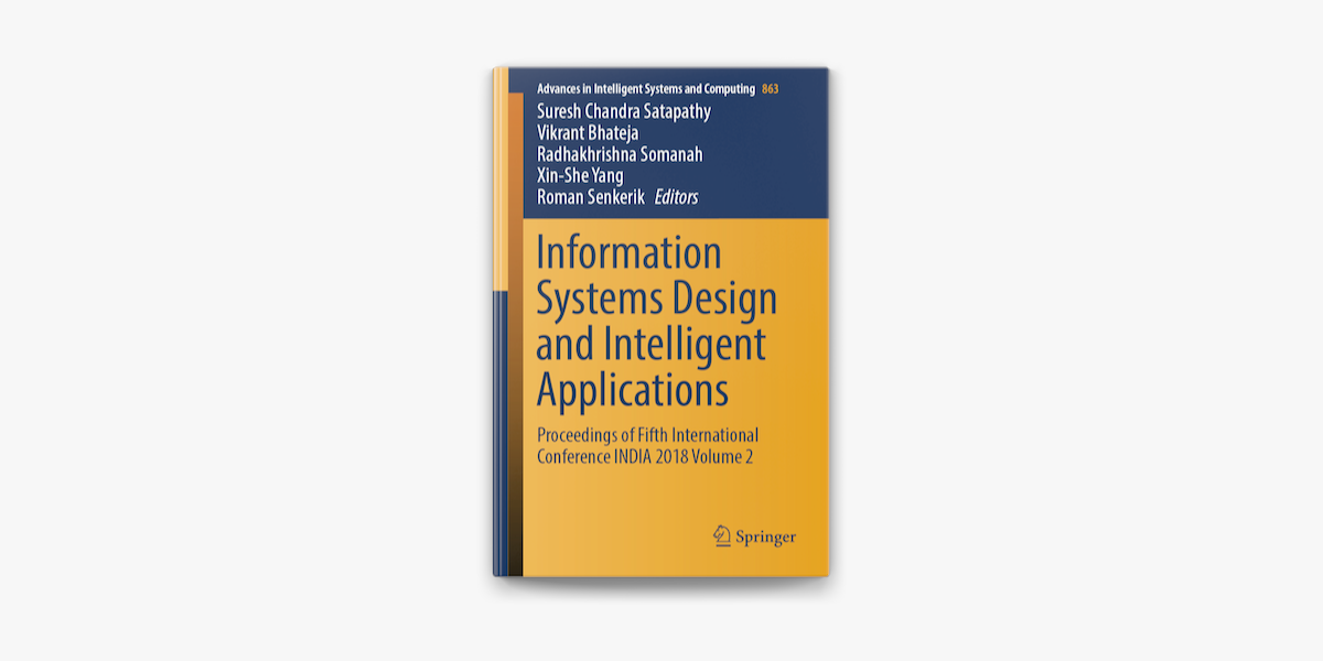 Information Systems Design And Intelligent Applications On Apple Books