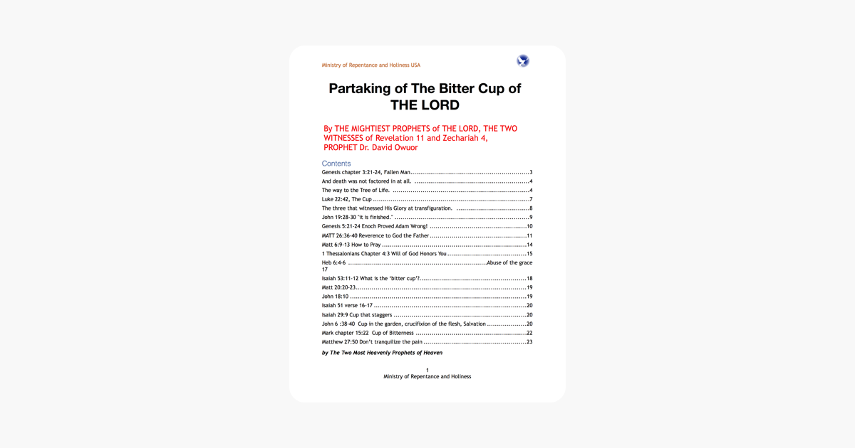 Partaking of The Bitter Cup of THE LORD on Apple Books