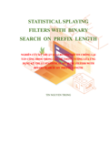 STATISTICAL SPLAYING FILTERS WITH  BINARY SEARCH  ON  PREFIX  LENGTH Book Cover