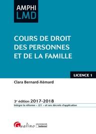 COURS DE DROIT DES PERSONNES ET DE LA FAMILLE 2017-2018