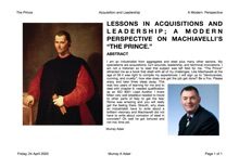 LESSONS IN ACQUISITIONS AND LEADERSHIP A MODERN PERSPECTIVE ON MACHIAVELLI S THE PRINCE