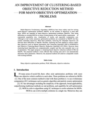 AN IMPROVEMENT OF CLUSTERING-BASED OBJECTIVE REDUCTION METHOD FOR MANY-OBJECTIVE OPTIMIZATION PROBLEMS