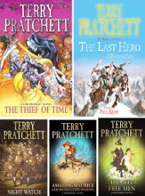 Discworld Series By Terry Pratchett Volume VI: Thief Of Time, The Last Hero, The Amazing Maurice And His Educated Rodents, Night Watch, The Wee Free Men.