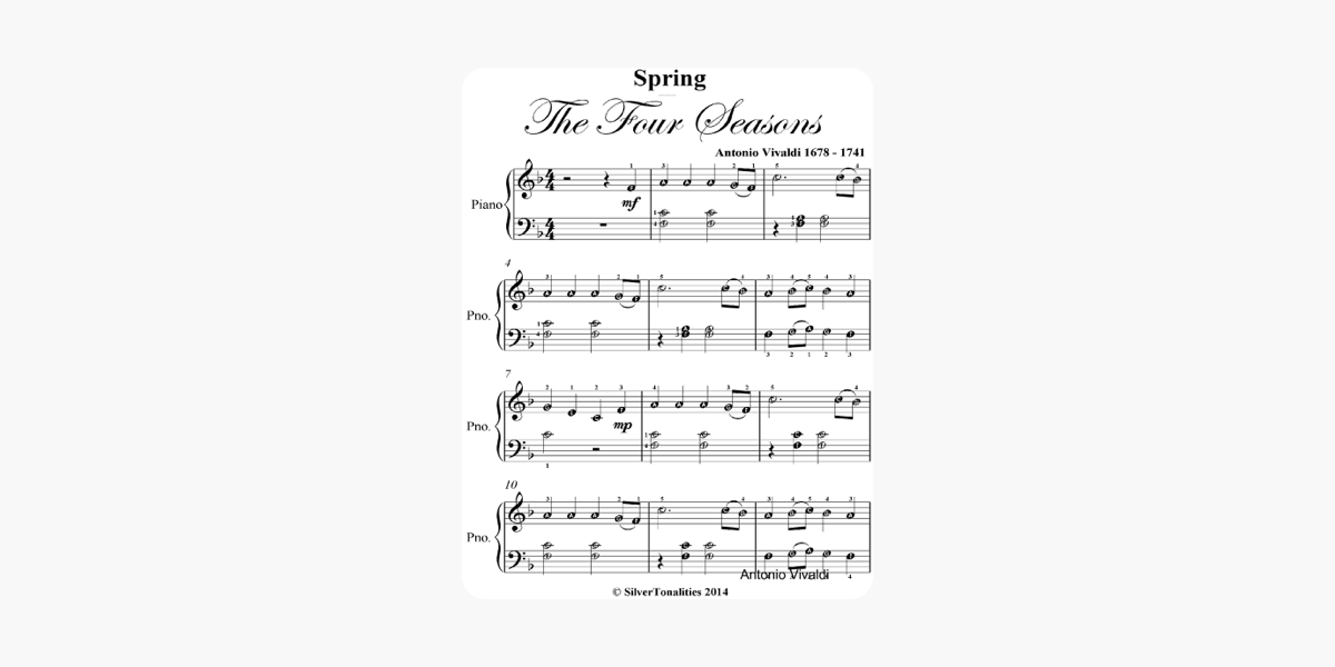Spring Four Seasons Easy Elementary Piano Sheet Music