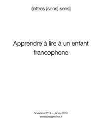 Apprendre à lire à un enfant francophone - lettressonssens
