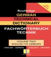 German Technical Dictionary Volume 2