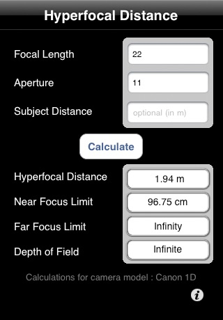 Hyperfocal Calc screenshot 1