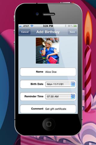 "Birthday Reminder 2 ""Lite Edition"" screenshot two"
