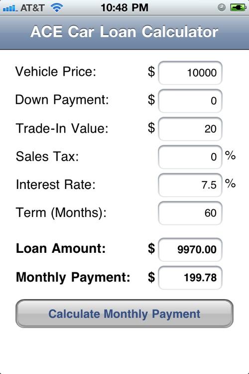 Ace Car Loan Calculator By R8 Software Llc
