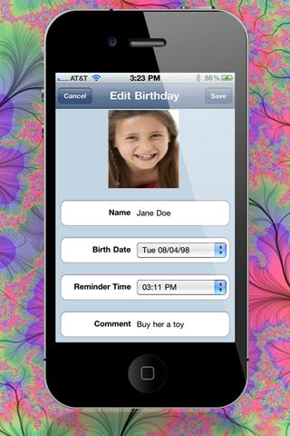 """Birthday Reminder 2 """"Lite Edition"""" screenshot four"""
