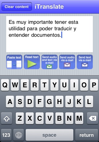iTranslate with Text to Speech English to Spanish