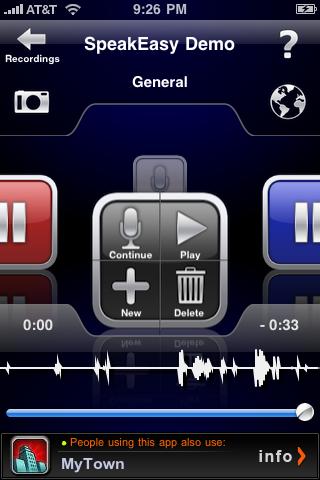 Screenshot of SpeakEasy Voice Recorder Lite