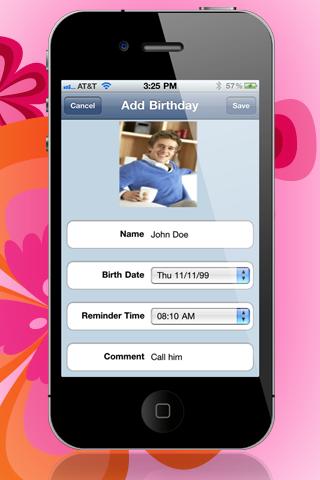 "Birthday Reminder 2 ""Lite Edition"" screenshot three"