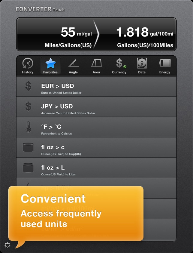 Converter Touch HD ~ Fastest Unit Converter Screenshot