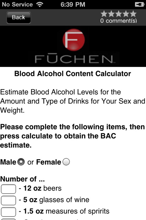 Fuchen Anytime - BAC Calculator, Drink Recipes & Call A Cab