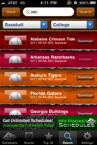 My Pocket Schedules Lite - Youth, College, Pro Teams screenshot-4