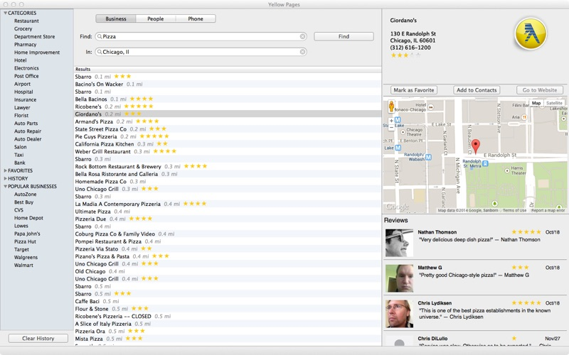 YellowPages Screenshot