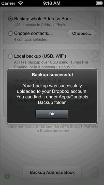 Contacts Backup to Dropbox Lite screenshot-3