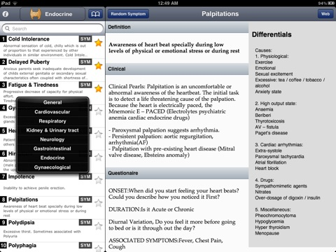 screenshot 2 for symptomatology students pocket book of symptoms signs