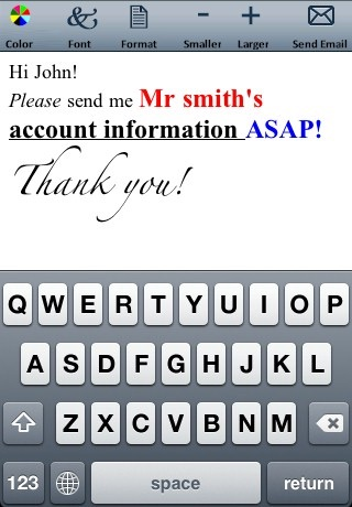 Email Text and Emoticons Editor (Colors, fonts, formats and sizes) screenshot 2