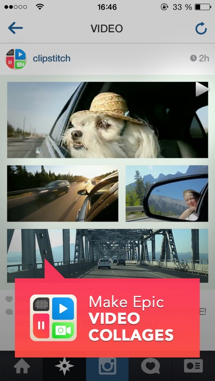 ClipStitch video collage - stitch video and pic together on a clip photo collage with frames