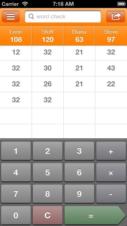 Scorecard for word games