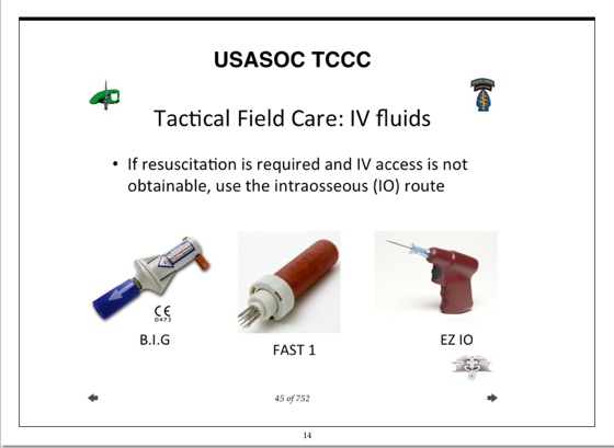 U S  Army Special Forces Medical Tactical Combat Casualty Care (TCCC)  Training Course Materials
