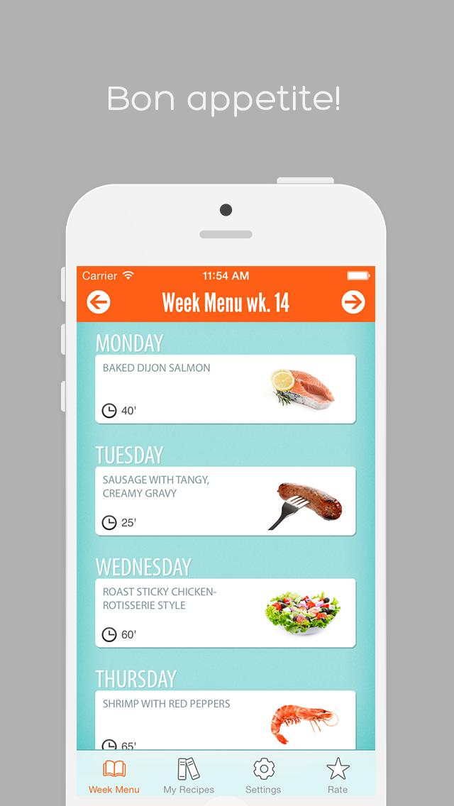 download Week Menu - Plan your cooking with your personal recipe book - iPhone Edition indir ücretsiz - windows 8 , 7 veya 10 and Mac Download now