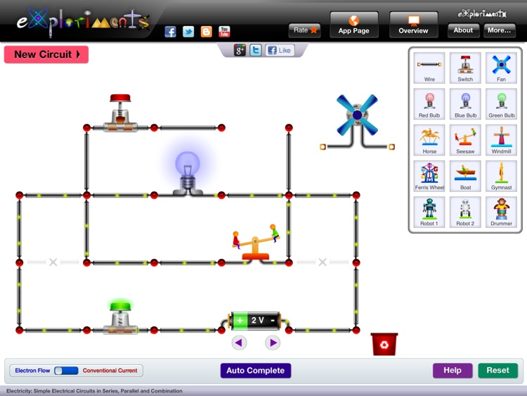 Exploriments: Electricity - Simple Electrical Circuits in Series, Parallel and Combination screenshot-0