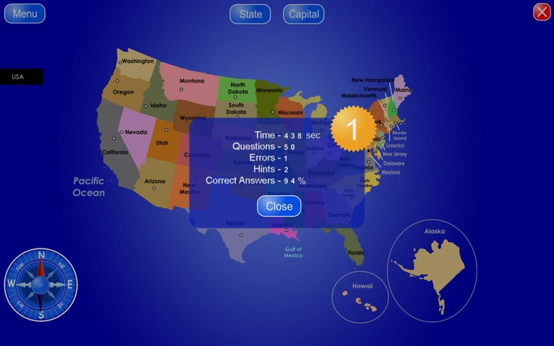 50 States and Capitals Screenshot