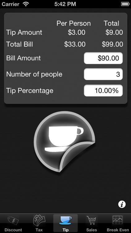 Percentages 5 in 1: Tax, Tip, Discount, Margin and Break Even Point Calculator