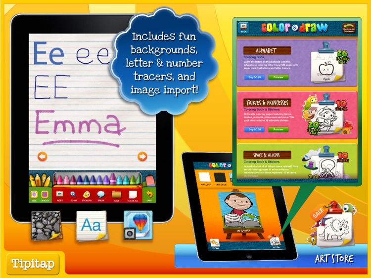 Color & Draw for kids HD: 4 apps in 1 - Coloring Book for iPad screenshot-3